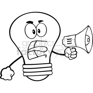 6147 Royalty Free Clip Art Angry Light Bulb Cartoon Character Screaming Into Megaphone clipart. Commercial use image # 389292