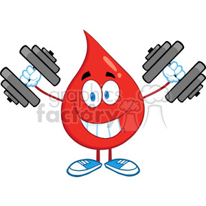 6180 Royalty Free Clip Art Smiling Red Blood Drop Character Training With Dumbbells clipart. Royalty-free image # 389372