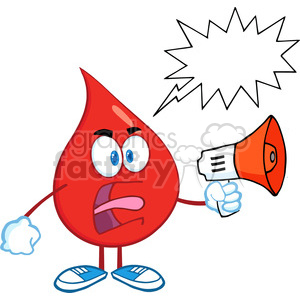 6190 Royalty Free Clip Art Angry Red Blood Drop Character Screaming Into Megaphone With Speech Bubble clipart. Royalty-free image # 389392