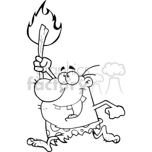 6811 Royalty Free Clip Art Black and White Happy Caveman Running With A Torch clipart. Commercial use image # 389422