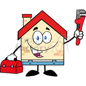 6456 Royalty Free Clip Art House Plumber With Wrench And Tool Box