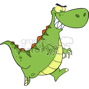 6820 Royalty Free Clip Art Angry Green Dinosaur Running