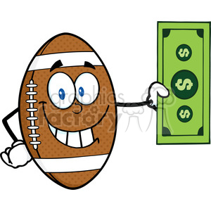 6589 Royalty Free Clip Art Smiling American Football Ball Cartoon Character Showing A Dollar Bill