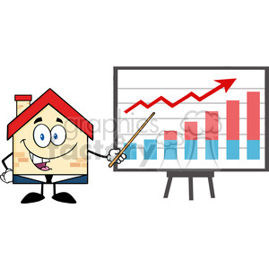 6445 Royalty Free Clip Art Business House Cartoon Character With Pointer Presenting A Progressive Chart clipart. Commercial use image # 389497