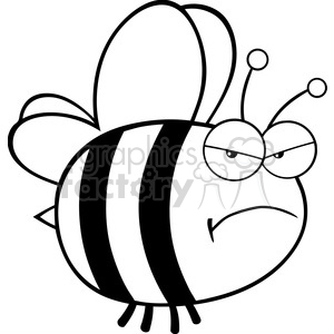 6546 Royalty Free Clip Art Black and White Angry Bee Cartoon Mascot Character clipart. Royalty-free image # 389507