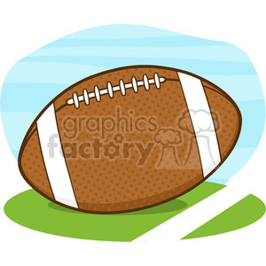 6557 Royalty Free Clip Art American Football Ball On Field Cartoon Illustration clipart. Royalty-free image # 389517