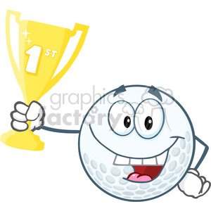 6491 Royalty Free Clip Art Happy Golf Ball Holding First Prize Trophy Cup clipart. Royalty-free image # 389527