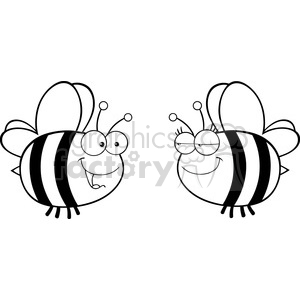 6552 Royalty Free Clip Art Black and White Cute Bee Looking Female Bee