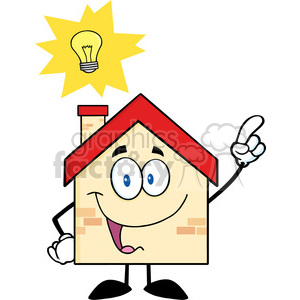 6474 Royalty Free Clip Art House Cartoon Character With Good Idea clipart. Commercial use image # 389597