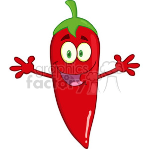 6783 Royalty Free Clip Art Smiling Red Chili Pepper Cartoon Mascot Character With Welcoming Open Arms clipart. Commercial use image # 389607