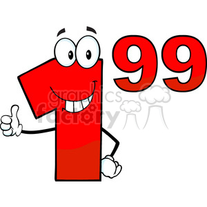 Price Tag Red Number 1-99 Cartoon Mascot Character Giving A Thumb Up clipart. Commercial use image # 389629