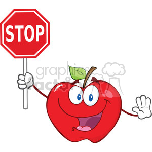 6534 Royalty Free Clip Art Apple Cartoon Mascot Character Holding A Stop Sign clipart. Royalty-free image # 389649