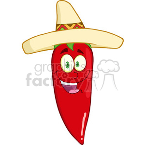 6775 Royalty Free Clip Art Smiling Red Chili Pepper Cartoon Mascot Character With Mexican Hat clipart. Royalty-free image # 389659