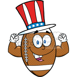 6578 Royalty Free Clip Art American Football Ball Cartoon Mascot Character With American Patriotic Hat Showing Muscle Arms clipart. Royalty-free image # 389669