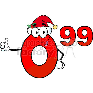 6693 Royalty Free Clip Art Price Tag Red Number 0-99 With Santa Hat Cartoon Mascot Character Giving A Thumb Up clipart. Royalty-free image # 389689