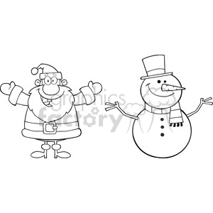 6675 Royalty Free Clip Art Black And White Happy Santa Claus And Snowman