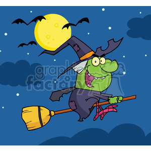 6627 Royalty Free Clip Art Witch Ride A Broomstick In The Night clipart. Royalty-free image # 389719