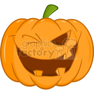 6607 Royalty Free Clip Art Scary Halloween Pumpkin Winking Cartoon Illustration clipart. Royalty-free image # 389739