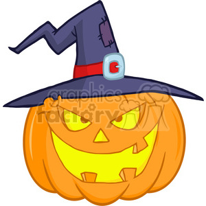 6609 Royalty Free Clip Art Halloween Pumpkin With A Witch Hat Cartoon Illustration clipart. Commercial use image # 389759