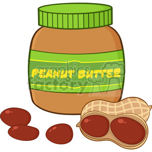 6595 Royalty Free Clip Art Peanut Butter Jar Cartoon Illustration