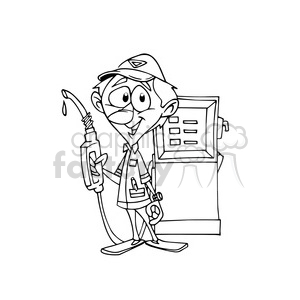 cartoon gas attendant in black and white