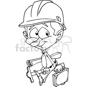architect character cartoon in black and white clipart. Royalty-free image # 389827