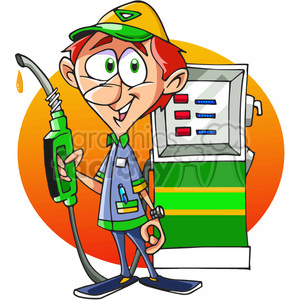 cartoon gas attendant clipart. Commercial use image # 389837