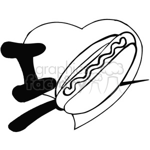 I love hotdogs black and white image clipart. Commercial use image # 389847