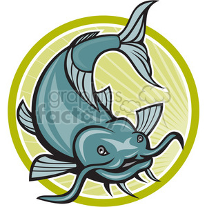 cartoon retro fish catfish