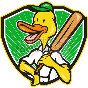 duck cricket bat standing SHIELD clipart. Commercial use image # 389922