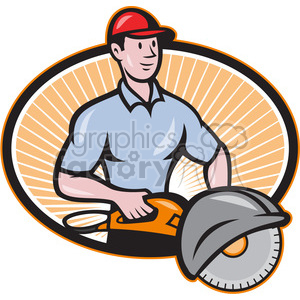 concrete sawing drilling worker clipart. Commercial use image # 389952