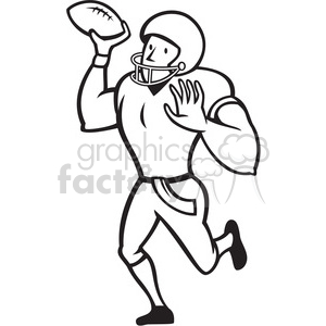 royalty free american football quarterback pass black white 389992 rh graphicsfactory com free football player clipart black and white boy playing soccer clipart black and white