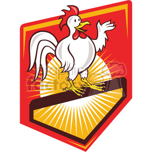 rooster standing hello SHIELD clipart. Commercial use image # 390008
