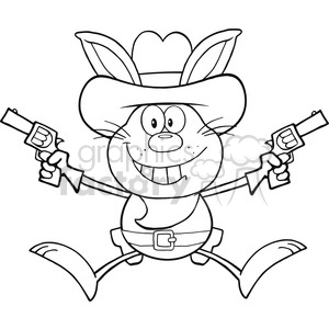 Royalty Free RF Clipart Illustration Black And White Cowboy Rabbit Cartoon Character Holding Up Two Revolvers