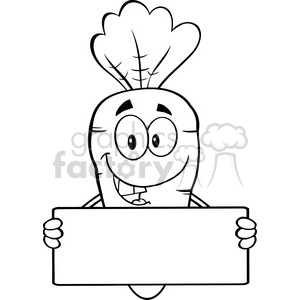 Royalty Free RF Clipart Illustration Black And White Funny Carrot Cartoon Character Holding A Banner clipart. Commercial use image # 390128