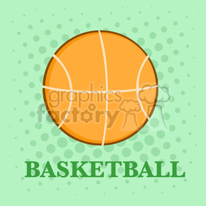 Royalty Free RF Clipart Illustration Abstract Basketball Over A Green Background With Text Flat Design