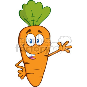 Royalty Free RF Clipart Illustration Smiling Carrot Cartoon Character Waving For Greeting