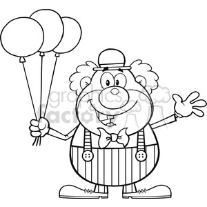 Royalty Free RF Clipart Illustration Black and White Funny Clown Cartoon Character With Balloons And Waving clipart. Royalty-free image # 390178