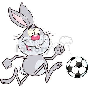 Royalty Free RF Clipart Illustration Cute Gray Rabbit Cartoon Character Playing With Soccer Ball clipart. Commercial use image # 390218