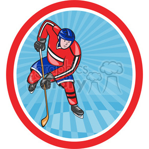 ice hockey player action front OL 006 clipart. Commercial use image # 390380
