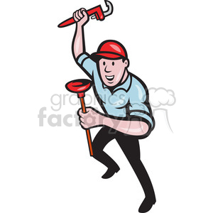 plumber wrench plunger standing front clipart. Commercial use image # 390400