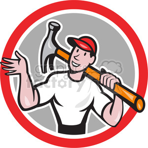 handman hammer wave hand CIRC clipart. Commercial use image # 390410