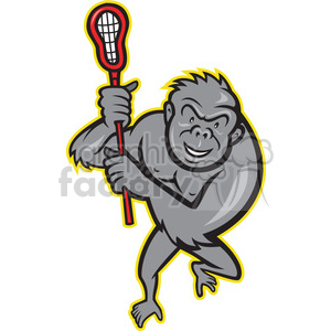 gorilla lacrosse stick clipart. Commercial use image # 390464