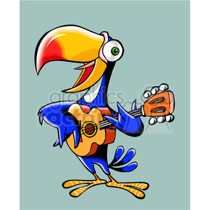 cartoon parrot playing a guitar clipart. Royalty-free image # 390661