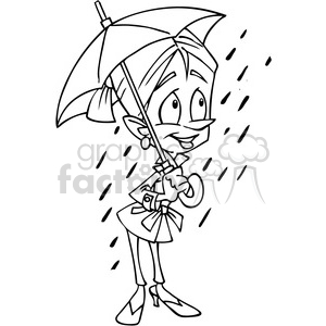 woman holding umbrella outline