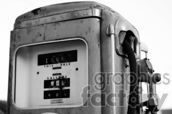black and white gas pump photo