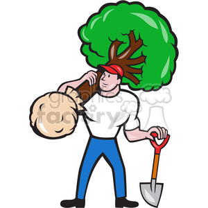 gardener carry tree shovel clipart. Commercial use image # 391356
