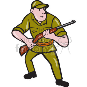 hunter holding shotgun rifle cartoon