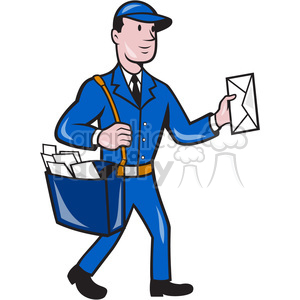 mailman mailbag delivering mail vector clipart. Royalty-free image # 391406