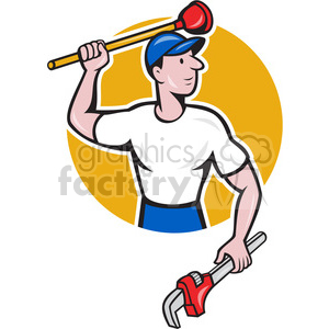 plumber standing with wrench and plunger clipart. Commercial use image # 391436